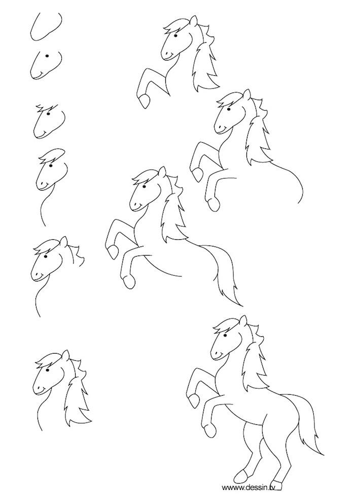 Cheval dessin simple étape par étape, les chevaux enfant dessin, exercice dessin, faire des croquis