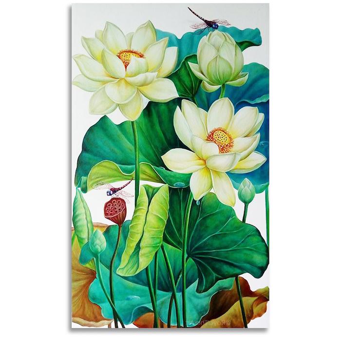 Peinture coloré fleurie, idée de tatouage fleur de lotus, magnifique tatouage fleurs blanches, lotus peinture idee tatouage