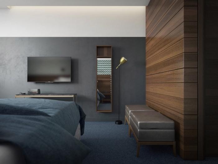 design intérieur contemporain, idée aménagement chambre à coucher aux murs bicolore avec pan de mur en bois foncé