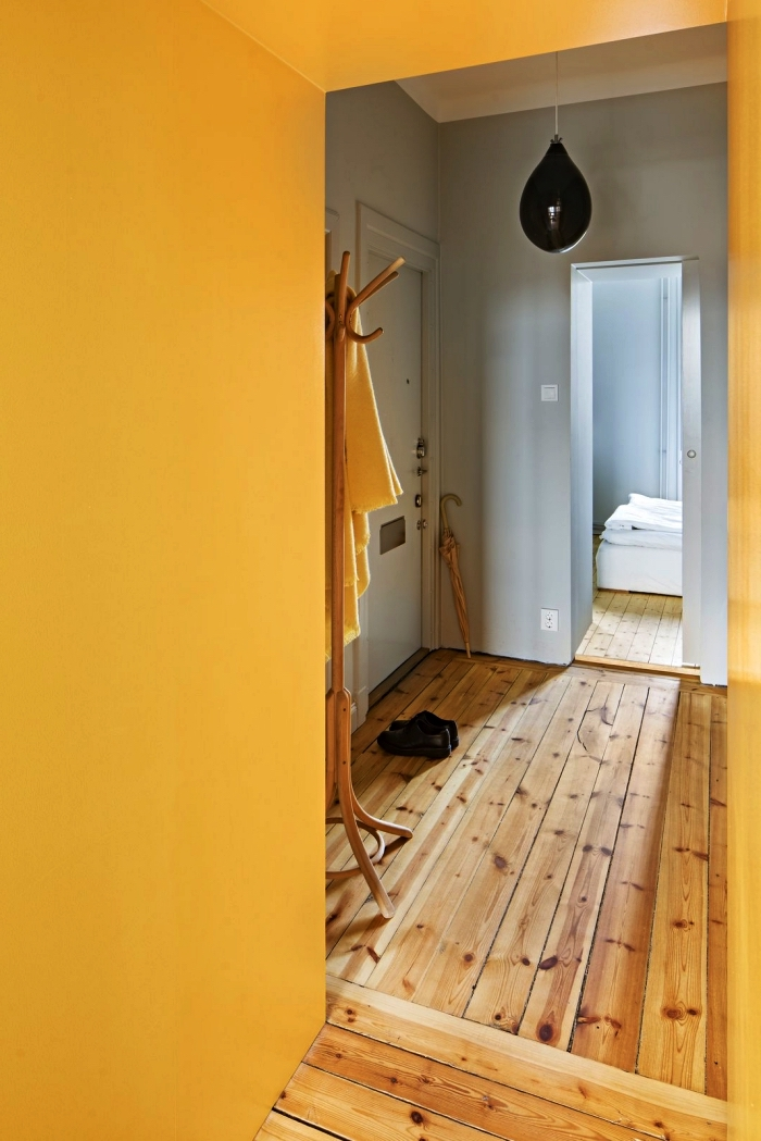 idée peinture couloir et entrée en gris et jaune, décoration colorblock dans le hall d'entrée