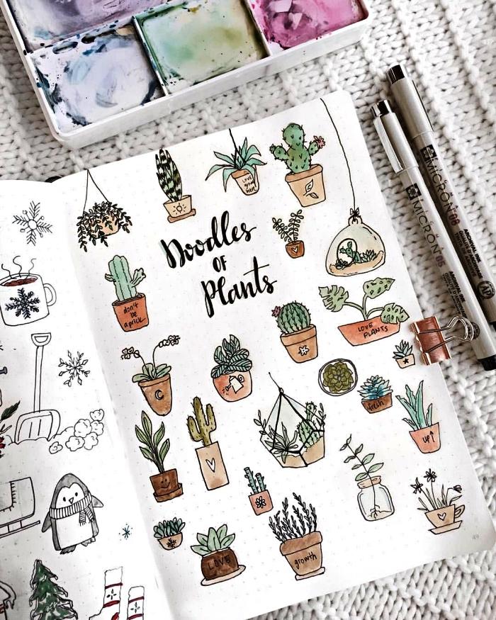 dessin bullet journal pour décorer ses pages, tuto dessin de cactus pour personnaliser son bullet journal