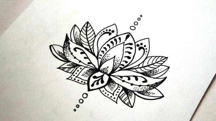 Henné tatouage fleur ephimere dessin à choisir, superbe idée de dessin sur la peau fleur de lotus