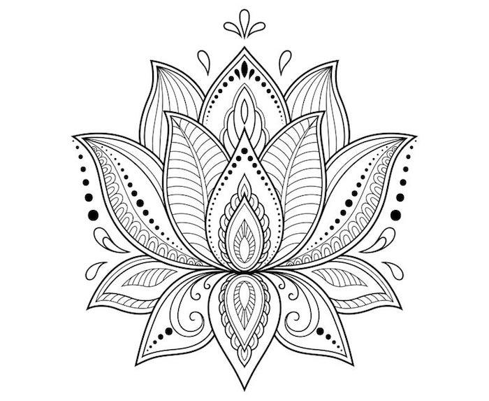 Modèle de fleur de lotus tatouage, symbole tatouage, dessin de fleur, motif fleurie magnifique
