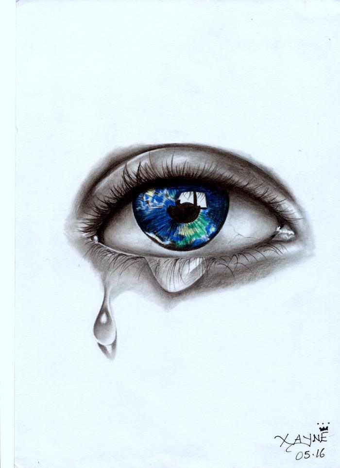 Oeil bleu avec un peu de vert comme le globe de la terre, dessin débutant, dessin facile a reproduire par etape