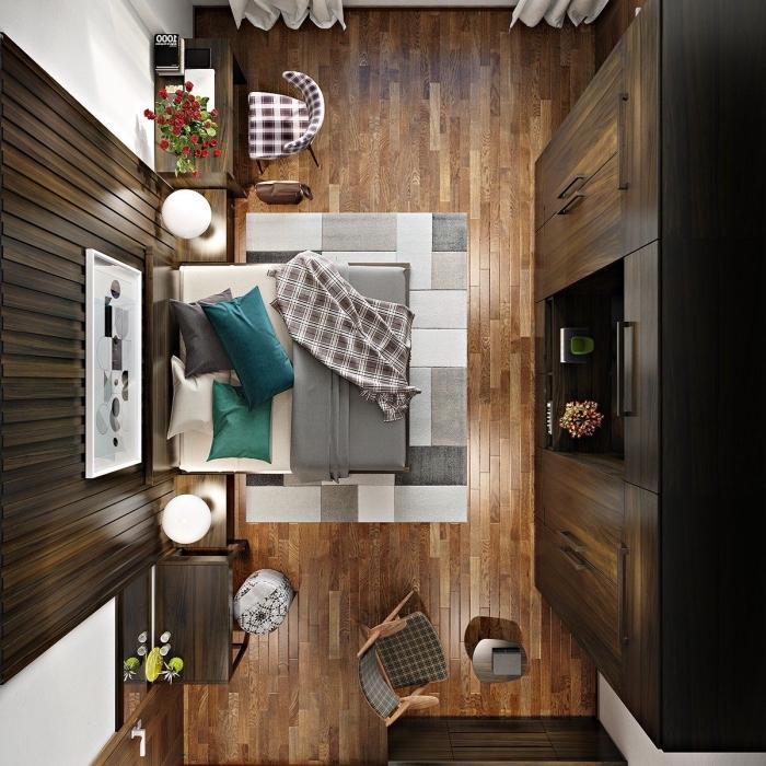 design intérieur moderne avec accents rustiques en bois, exemple de panneau mural décoratif intérieur en bois foncé