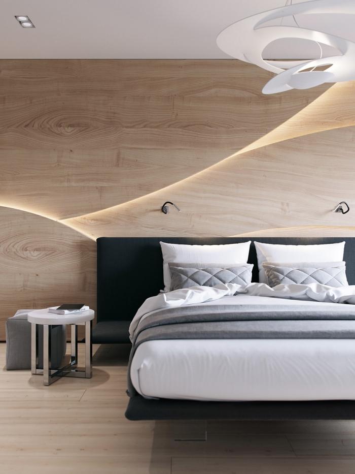 comment décorer une pièce scandinave en blanc et bois, modèle de panneau bois decoratif avec éclairage led
