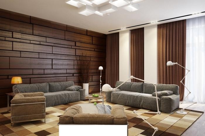 décoration salon blanc et bois avec accessoires nuances marron et beige, modèle de plafond original avec éclairage led