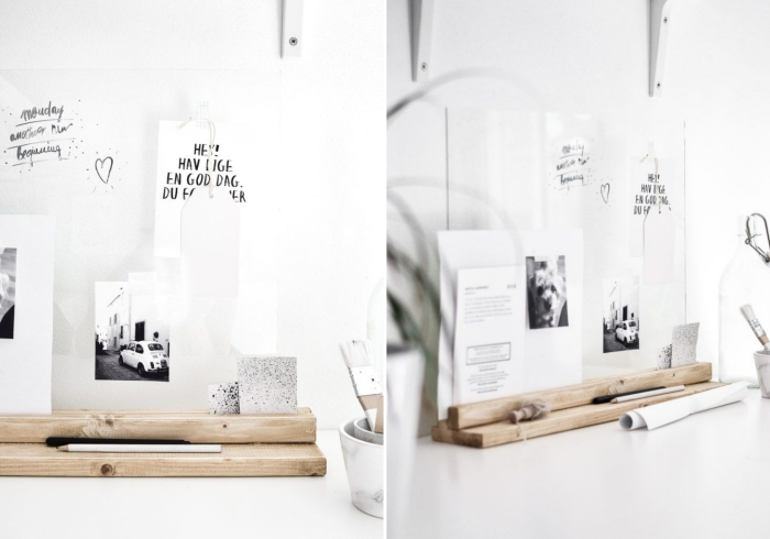 DIY organiseur de bureau, idée rangement de bureau stylé avec objets en blanc et bois, modèle support papier diy