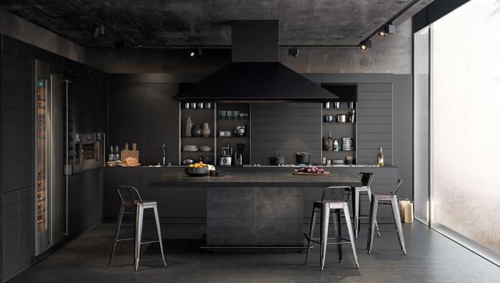 quelle couleur mur cuisine moderne et foncée, design cuisine en l avec îlot central, cuisine monochrome en noir mat