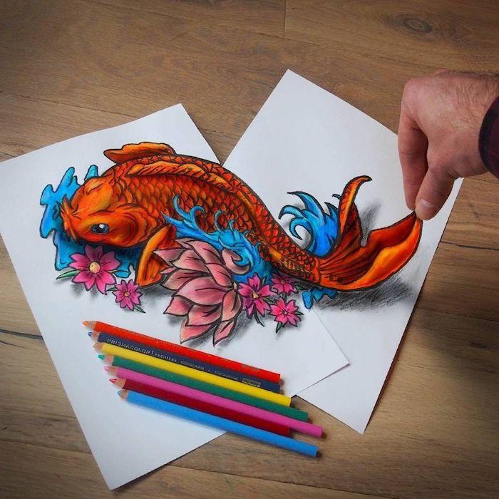 Dessin de poisson orange japonais, dessin réaliste, dessin facile a reproduire par etape