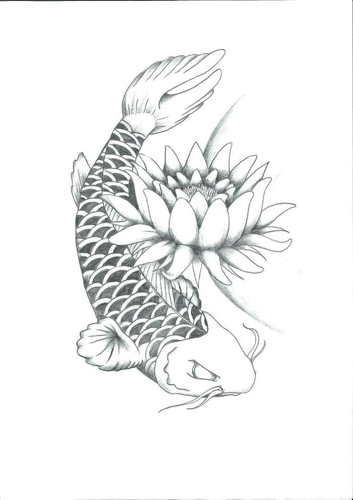 Poisson japonais dessin inspiration tatouage lotus, symbole tatouage fleurie