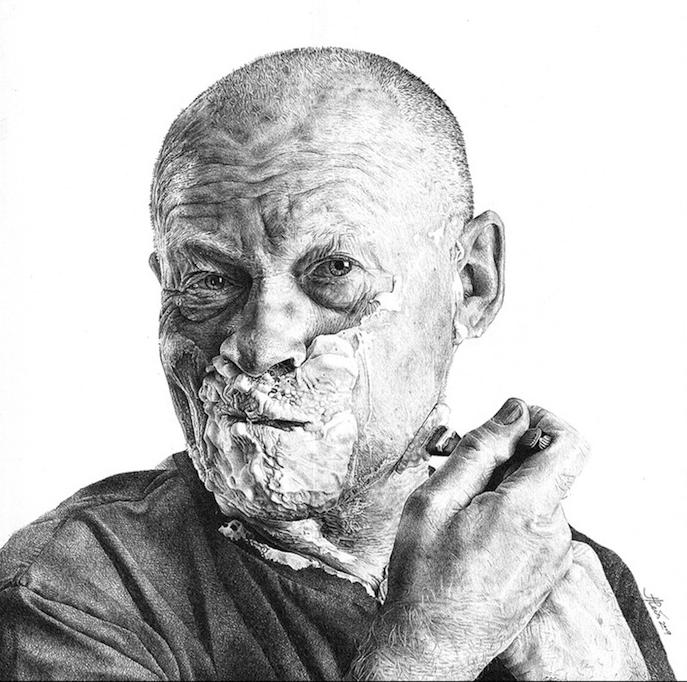 Photo realiste dessin d'homme qui se brosse la barbe, dessiner un visage, image dessin a faire facile par etapes