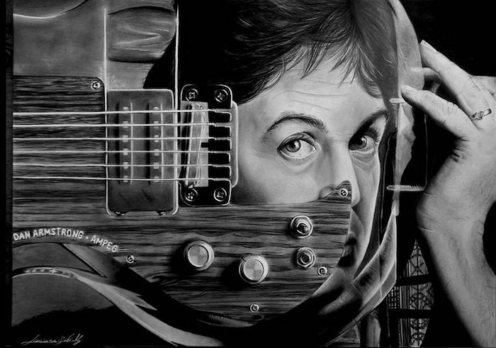 Guitare dessin au crayon, dessin visage femme, devenir mieux au dessin portrait original