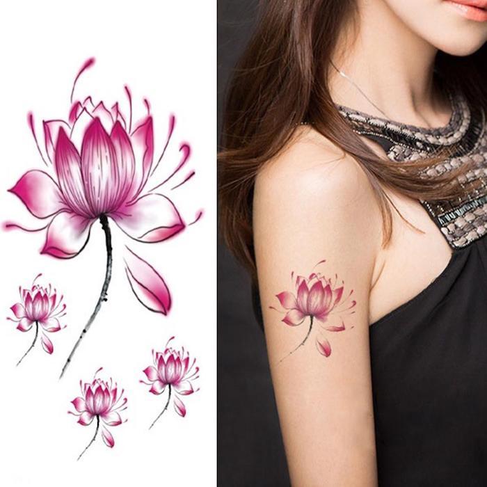 Dessin et tatouage symbole, quel tatouage choisir pour soi meme, modèle fleur tatouage coloré, tatouage éphémère