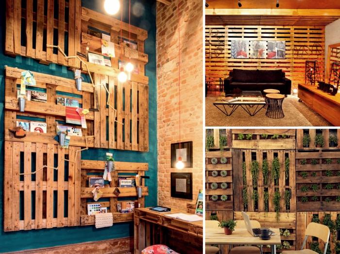 construction mur en palette pour intérieur, idée décoration de salon avec mur DIY en bois de palette recyclée