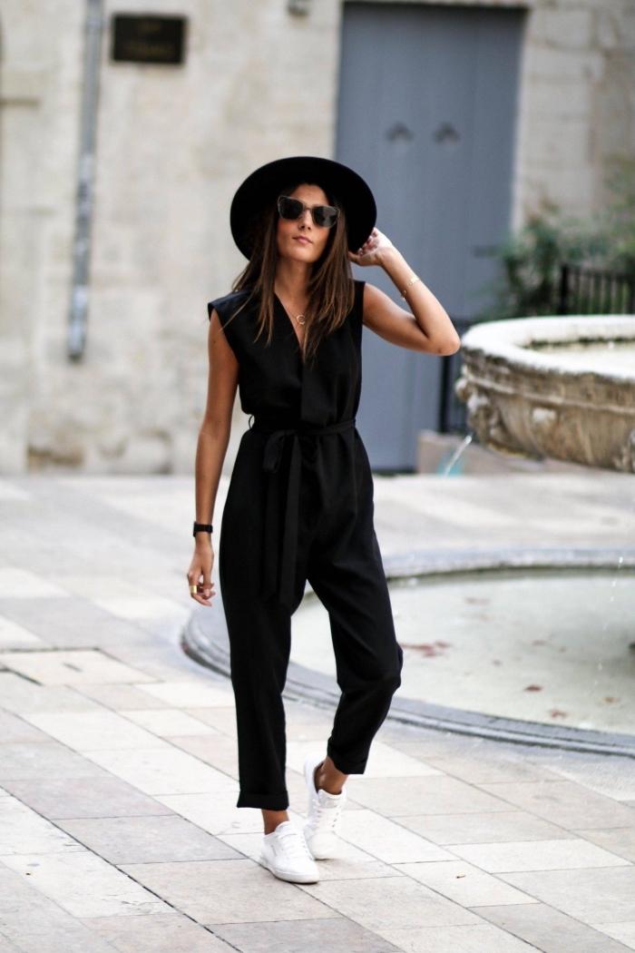 comment s habiller pour un mariage, modèle de combinaison 7/8 noir combinée avec baskets et capeline noire