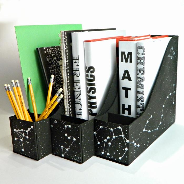 comment faire un classeur papier ou magazines en carton, DIY rangement papier bureau en carton et papier