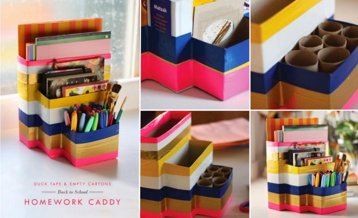 activité manuelle facile, fabriquer un accessoire bureau, DIY classeur papier et pot à crayon multicolore en carton