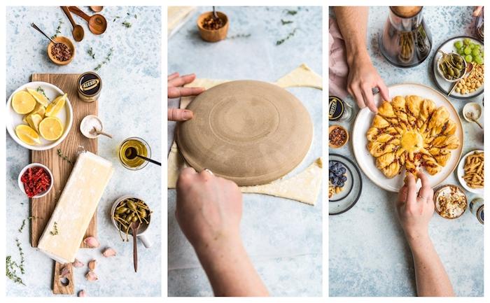 exemple de soleil feuilleté à faire soi meme, technique pour faire les rayons torsades, tarte soleil salé tapenade de tomates séchées
