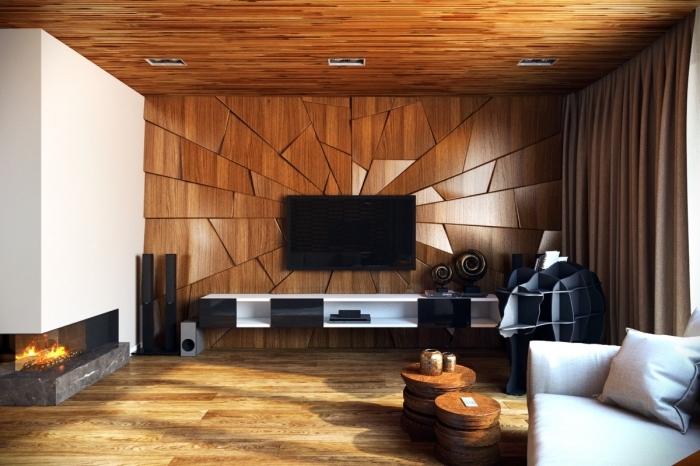 décoration murale bois, modèle de salon rustique au parquet bois laqué avec plafond en bois marron et meuble blanc et noir