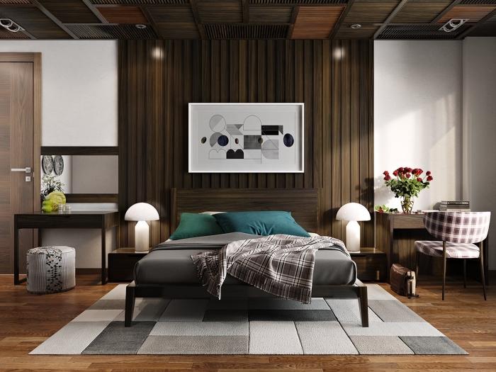 décoration chambre moderne aux murs blancs avec mur en partie recouvert de planches de bois foncé, idée revetement mural bois