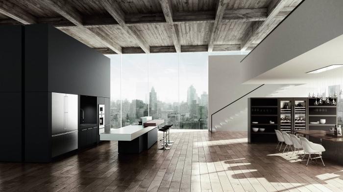 design cuisine moderne avec accents plafond et plancher en bois rustique, aménagement cuisine linéaire en noir mat