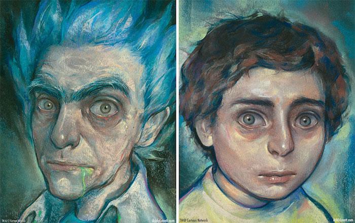 Dessiner les portraits de Rick et morty, portrait réaliste de rick et morty, originale idée transformer le dessin animé en dessin réaliste