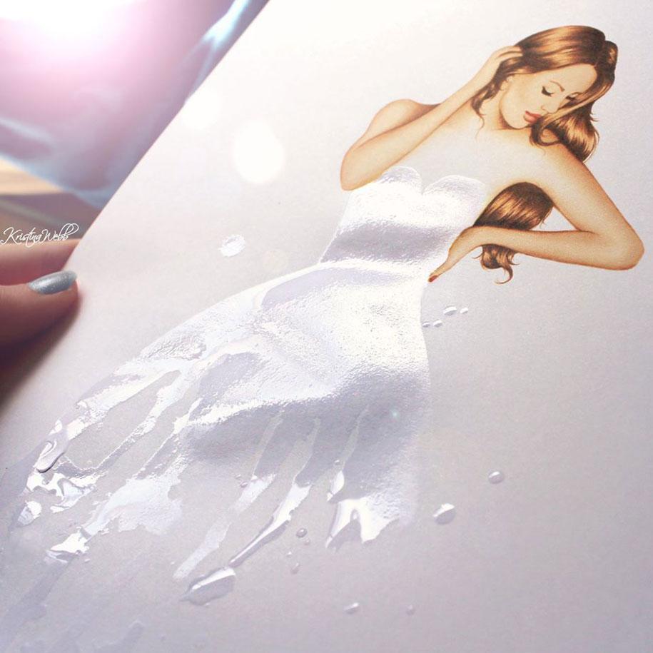 Robe illusion d optique dessin avec de l'eau, goutte d eau dessin, idée dessin réaliste