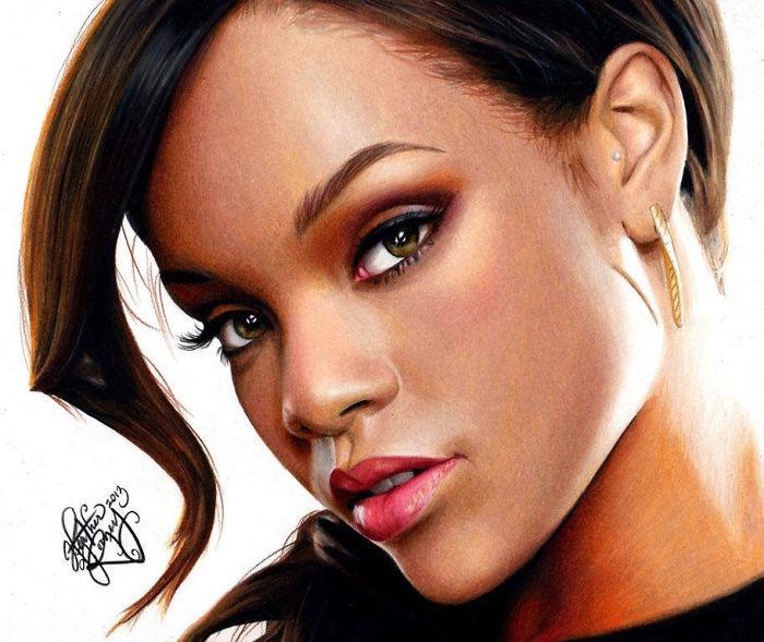 Rihanna portrait dessin, comment faire un dessin réaliste, inspiration dessin 3d coloré