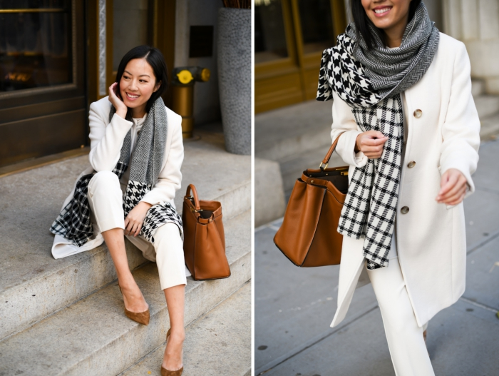 comment bien s'habiller femme, idée accessoire mode 2019, modèle d'écharpe blanc noir et gris à imprimé pied de poule