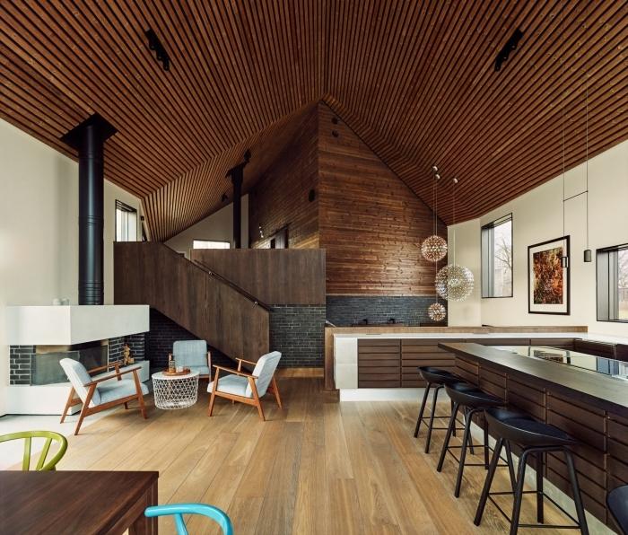 idée comment habiller un mur dans un salon, design intérieur moderne avec revêtement en différentes essences de bois