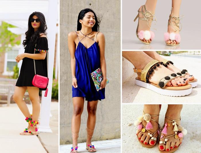 comment porter des sandales à pompons DIY, modèle sandales à plateformes dorées avec mini pompons noirs