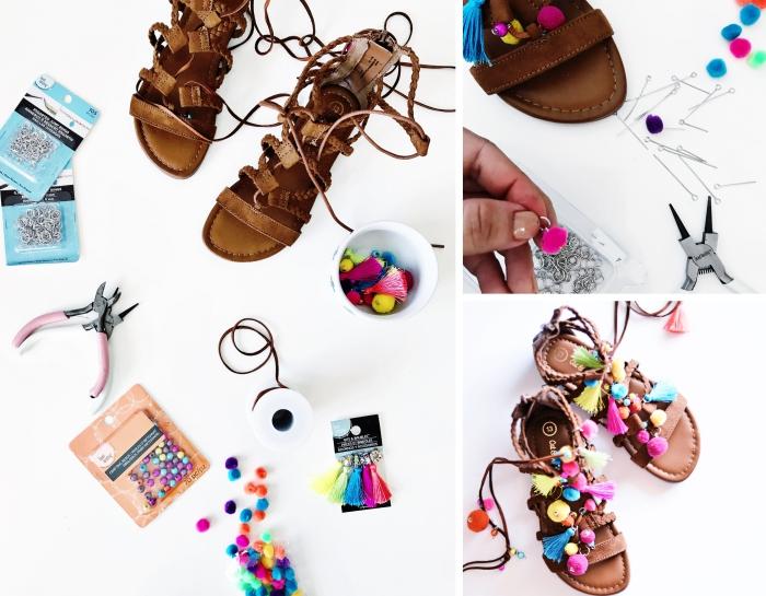 idée activité manuelle adulte, exemple comment décorer ses sandales plates femme avec mini pompons et glands