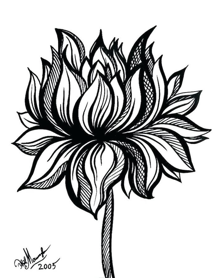 Magnifique dessin noir et blanc lignes, image tatouage thailandais, premier tatouage idée tatou féminine