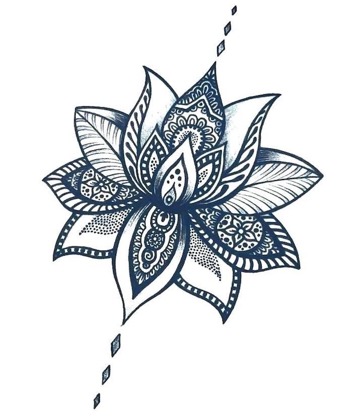 Motif fleurie pour faire le claire-obscure d'une fleur de lotus, tatouage colonne vertebrale femme, dessin de fleur