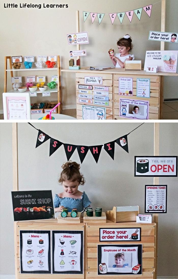 stand de marché pour enfants réalisé avec des caisses en bois ikea, bidouilles ikea boite rangement knagglig