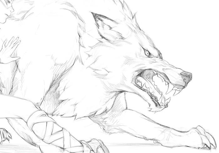 loup croquis symbole de la férocité, idée comment faire un dessin noir et blanc simple