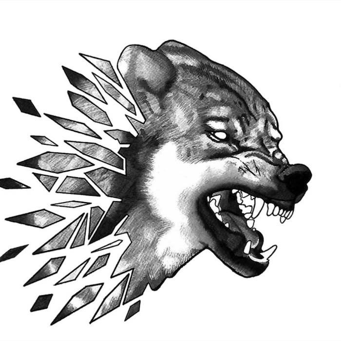 loup symbole de la férocité et les forces du mal, loup demonique avec tete qui s achève en formes geometriques