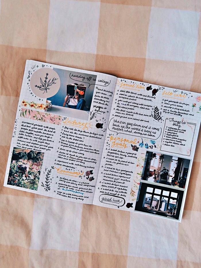 deco bullet journal réalisée avec des photos collées, des bandes de masking tape et de petites illustrations