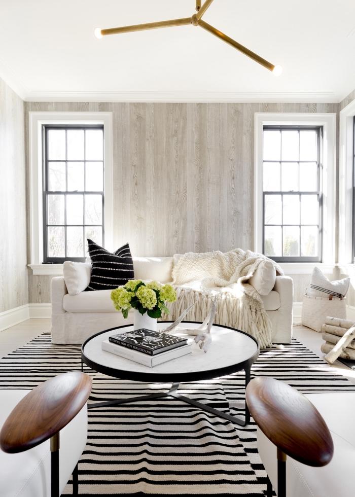 décoration salon cozy avec plafond et plancher blancs, deco mur en bois planche gris clair, tapis rayures blanc et noir