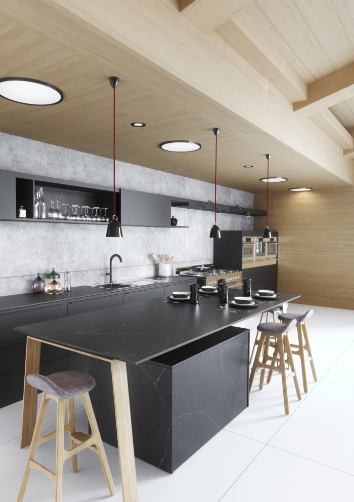 idée déco de cuisine bois et blanc avec meubles bas et plan de travail à effet marbre noir, agencement cuisine linéaire moderne