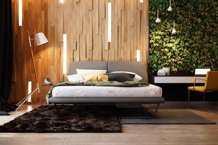 quel panneau mural décoratif intérieur choisir pour une chambre à coucher adulte, déco intérieure avec accents bois