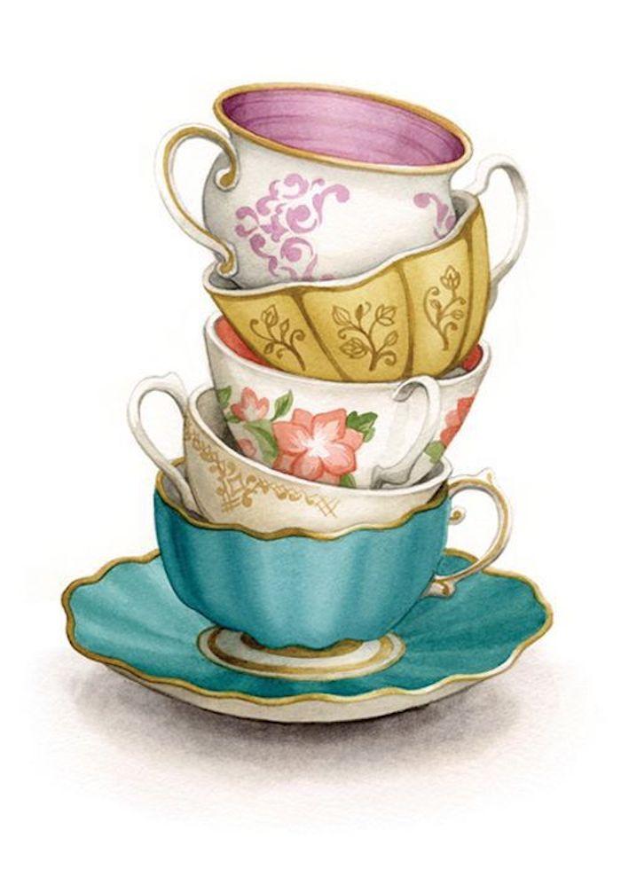Tasse à café coloré, comment dessiner pour débutant, dessin a reproduire par etape