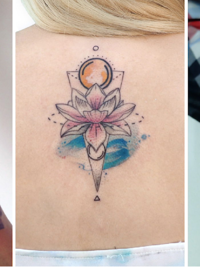 Coloré tatouage magique avec la lune et une fleur rose lotus sacré, idée tatouage femme, dessin de fleur de lotus signification