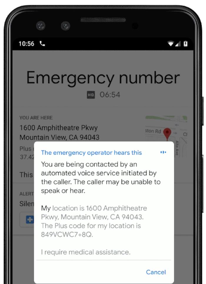 La nouvelle fonction d'appel d'urgence de Google sera capable de lire un texte enregistré et de fournir une localisation aux services de secours