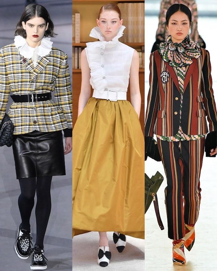Trois options tenue hiver 2020, tenue classe femme, les meilleures tendances 2019 look casual, jaune jupe mi longue