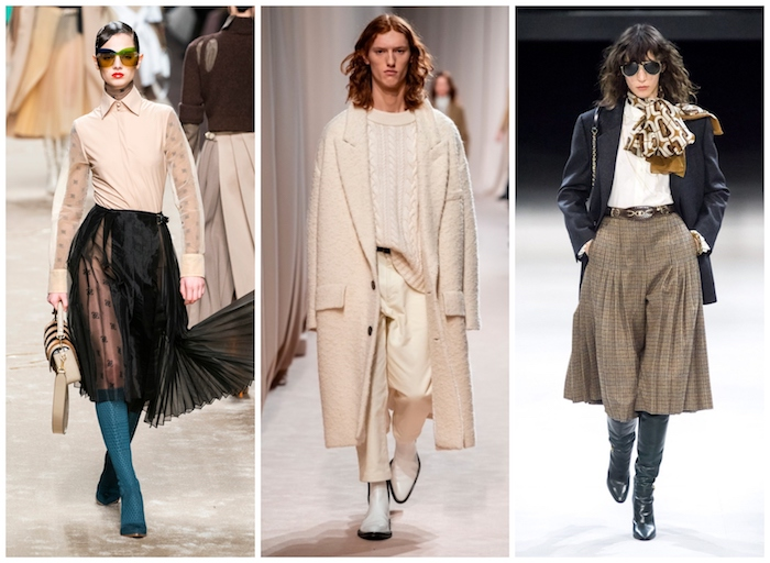 tendances automne hiver 2019 2020, comment s'habiller quand il fait froid, beige tenue jupe noire dentelle