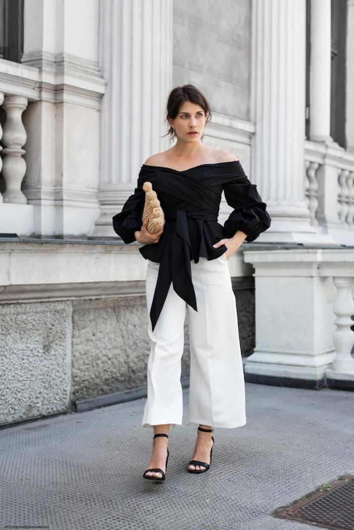 exemple pantalon blanc avec blouse noire pour femme invitée, look femme invitée mariage en blanc et noir stylé