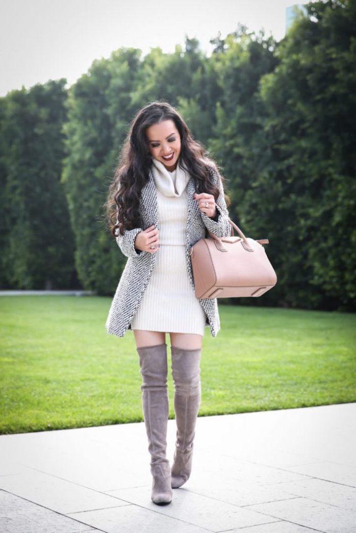 Manteau gris et robe d'hiver blanche, tenue cuissardes gris, les meilleures tendances 2019, manteau femme tendance automne-hiver 2019-2020