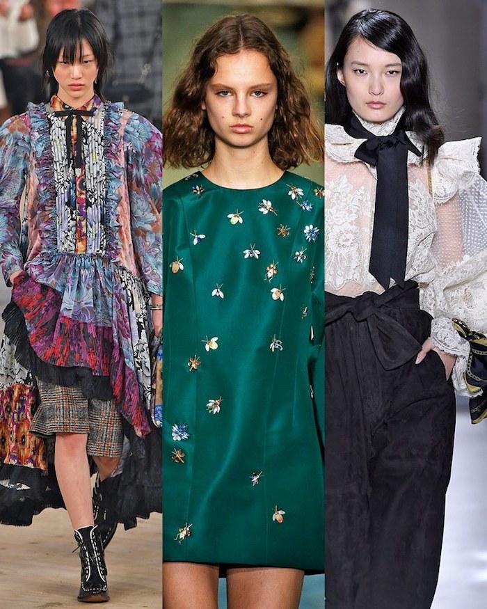 Robe verte à fleurs, tenue tendance automne-hiver 2019-2020, top dentelle pantalon noir